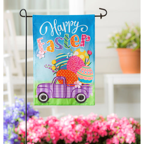 Easter Plaid Truck Burlap Garden Flag