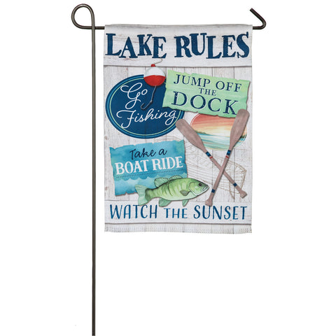 "Lake Rules Garden ""Suede"" Flag"