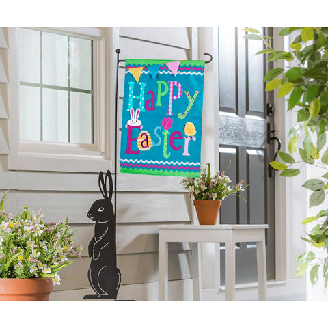 Happy Easter Garden Applique Flag