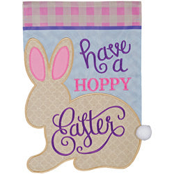 """Hoppy Easter"" Double Applique Garden Flag"