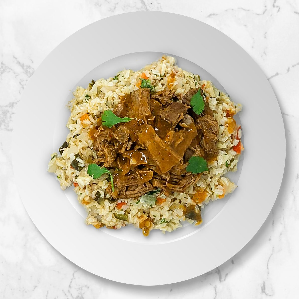 Beef Mole Pot Roast with Cauliflower Brown Rice