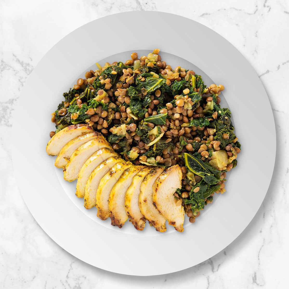 Roasted Chicken Breast with Lentils and Kale