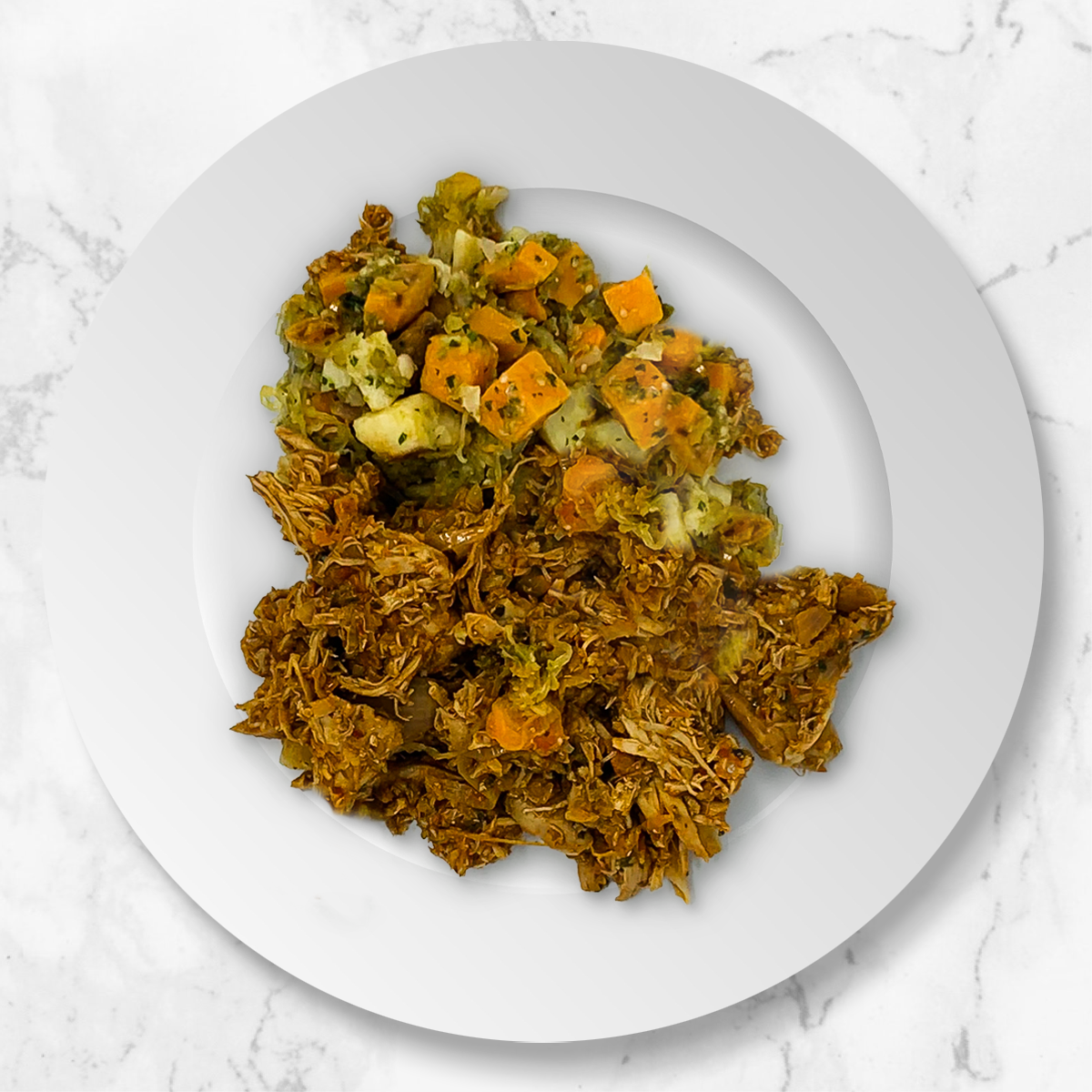 Chicken Tinga with Spaghetti Squash, Sweet Potato, Salsa Verde