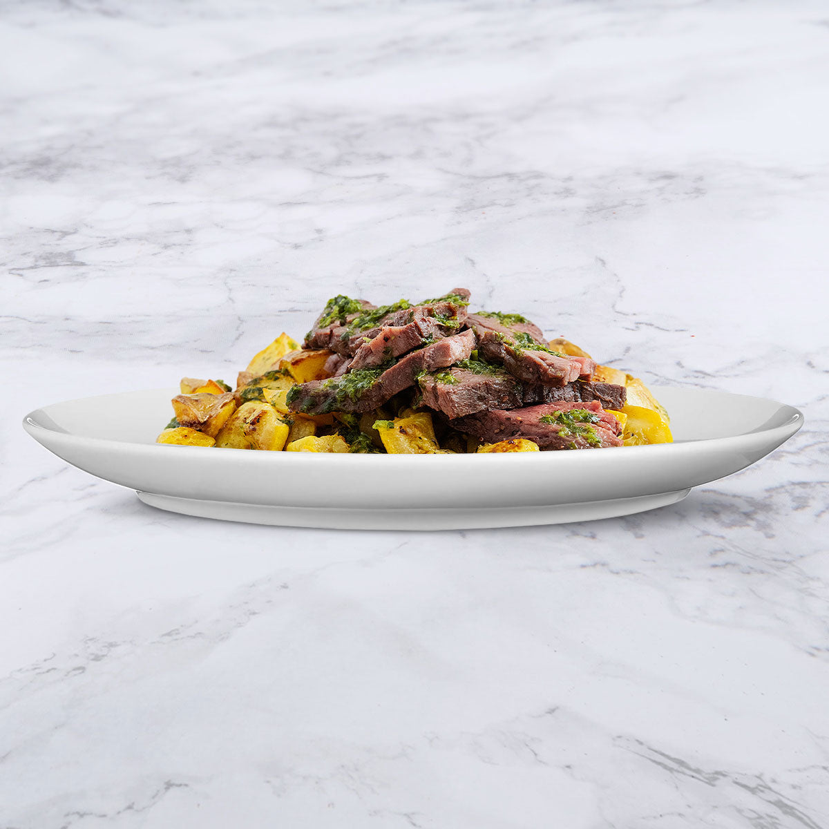 Chimichurri Beef with Roasted Potatoes and Yellow Squash