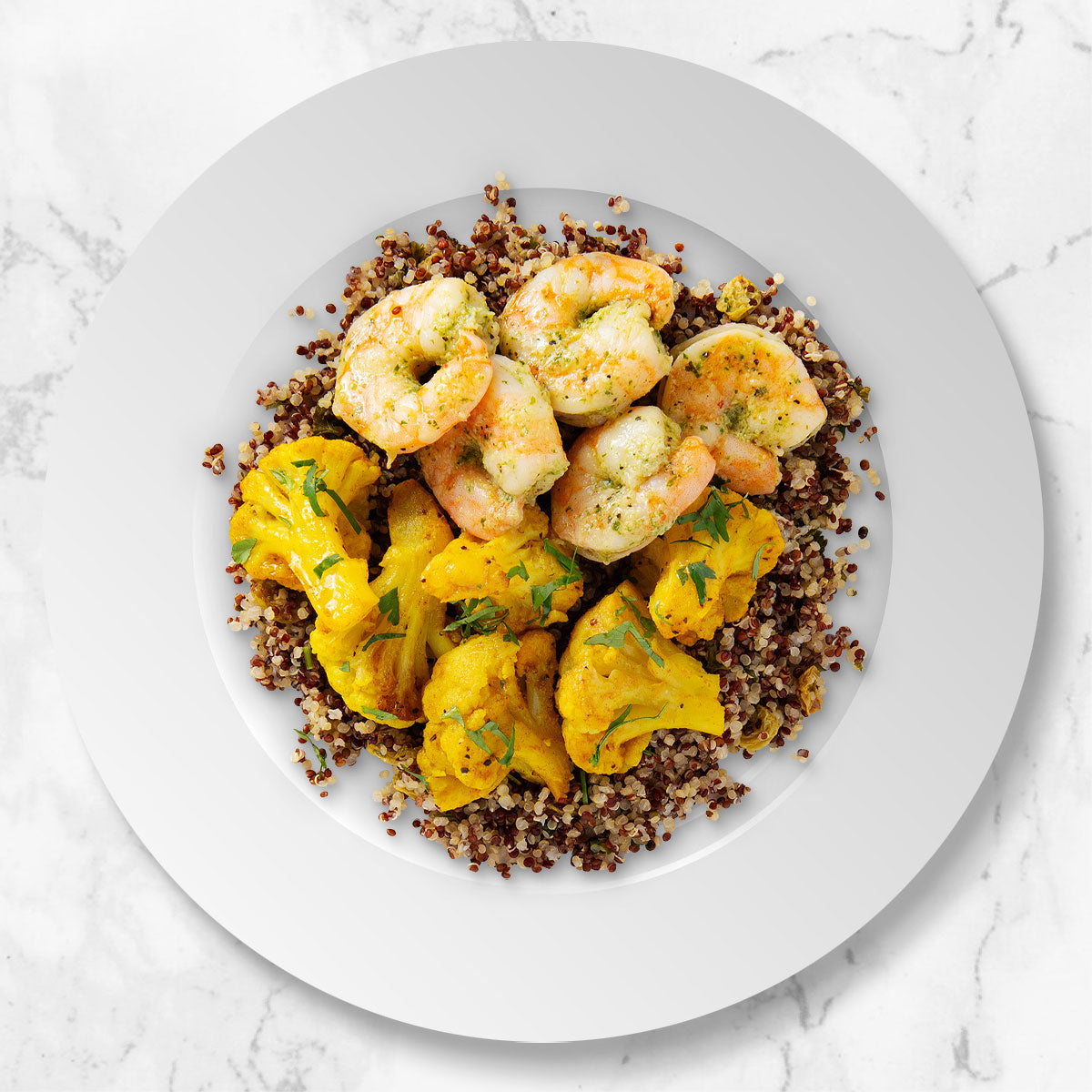 Citrus Shrimp with Quinoa and Spiced Cauliflower