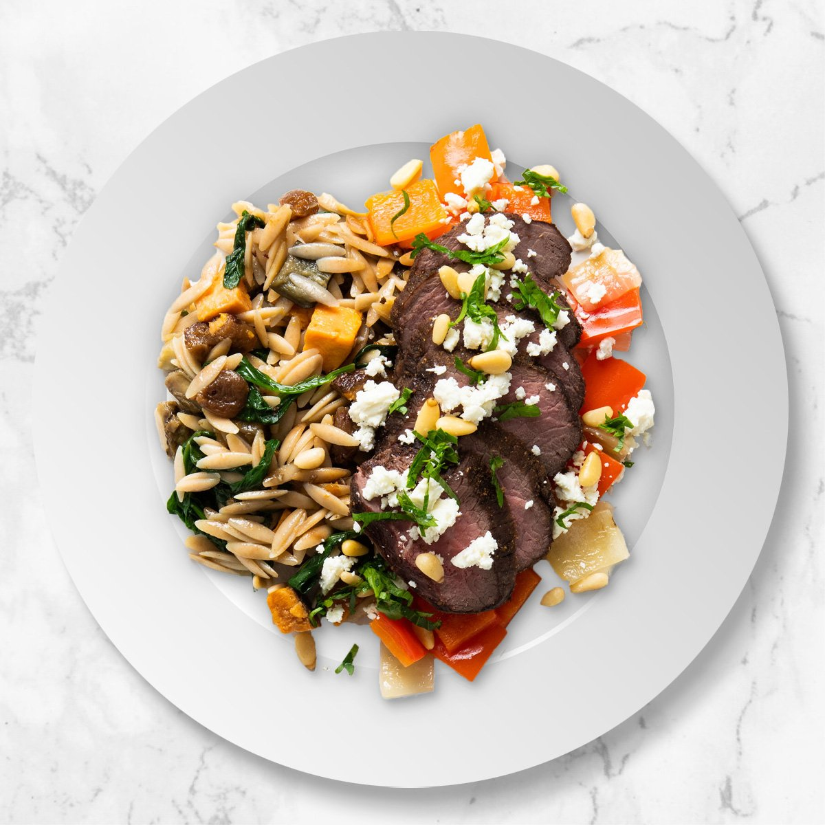 Roasted Lamb with Orzo Pasta