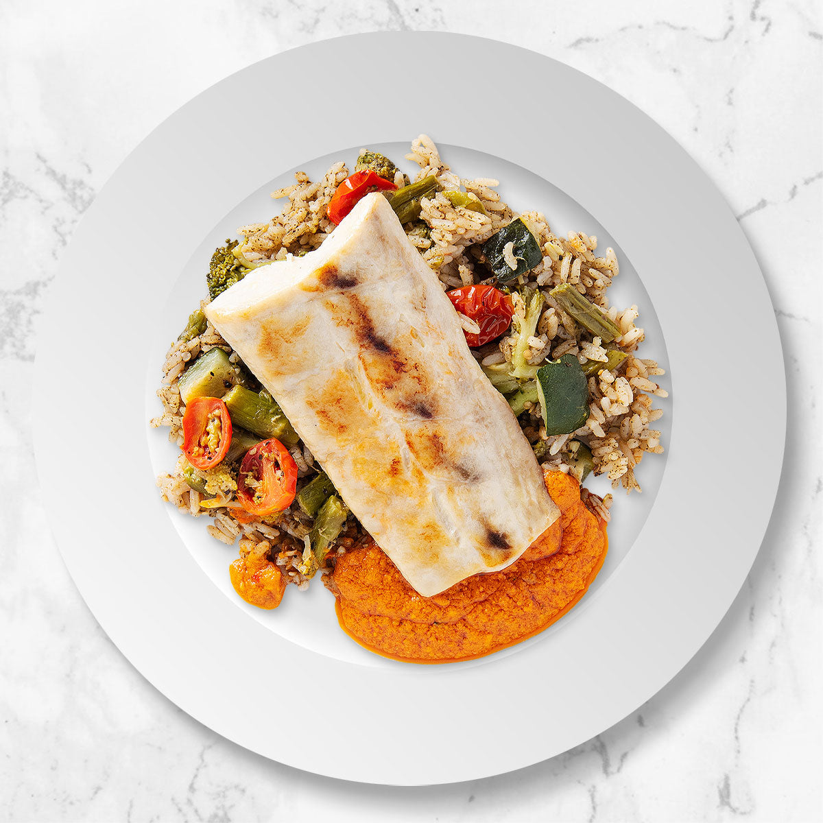 Mahi with Zaatar Rice, Vegetable Medley, and Romesco