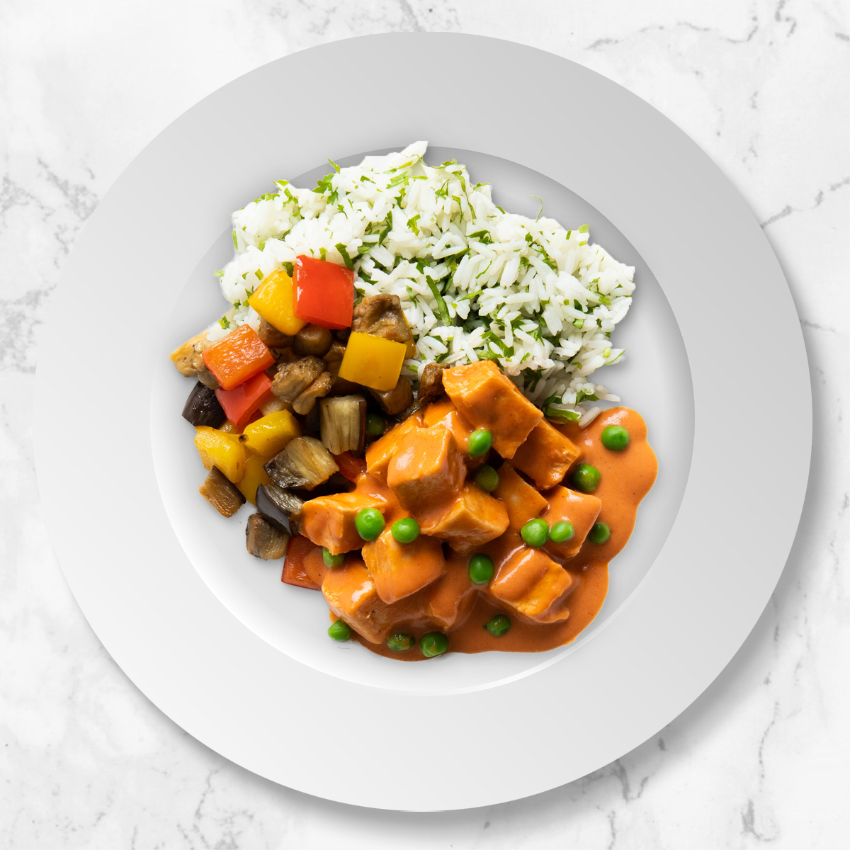 Chicken Tikka Masala with Bell Pepper, Eggplant and Jasmine Rice
