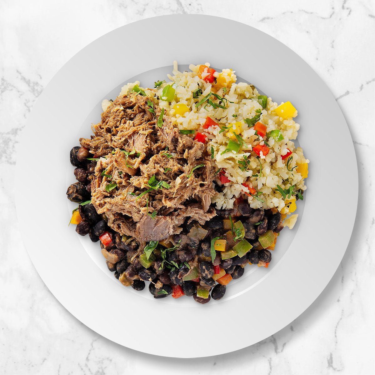Mojo Pork with Black Beans and Cilantro Cauliflower Rice