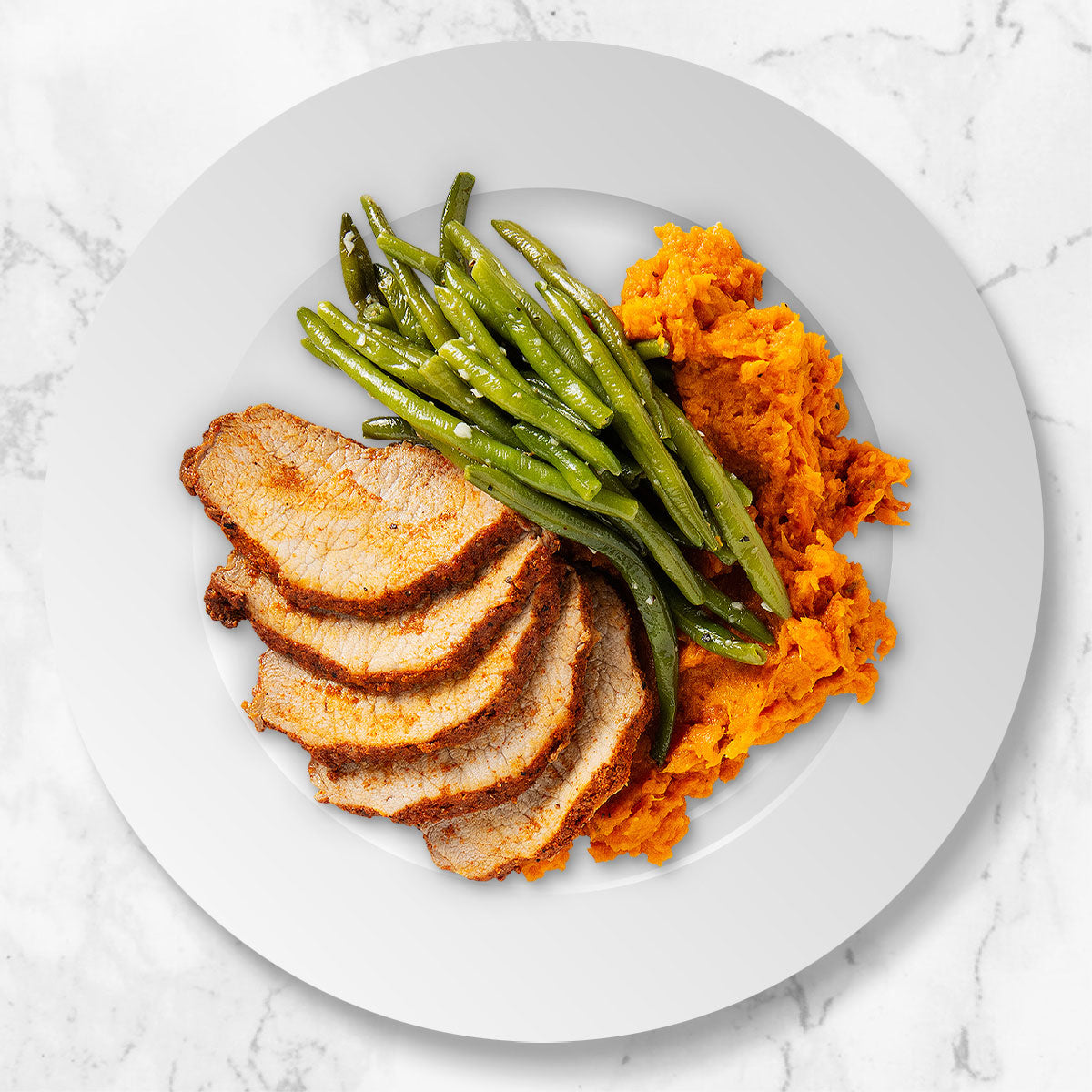 Pork Loin with Sweet Potato Mash and Green Beans