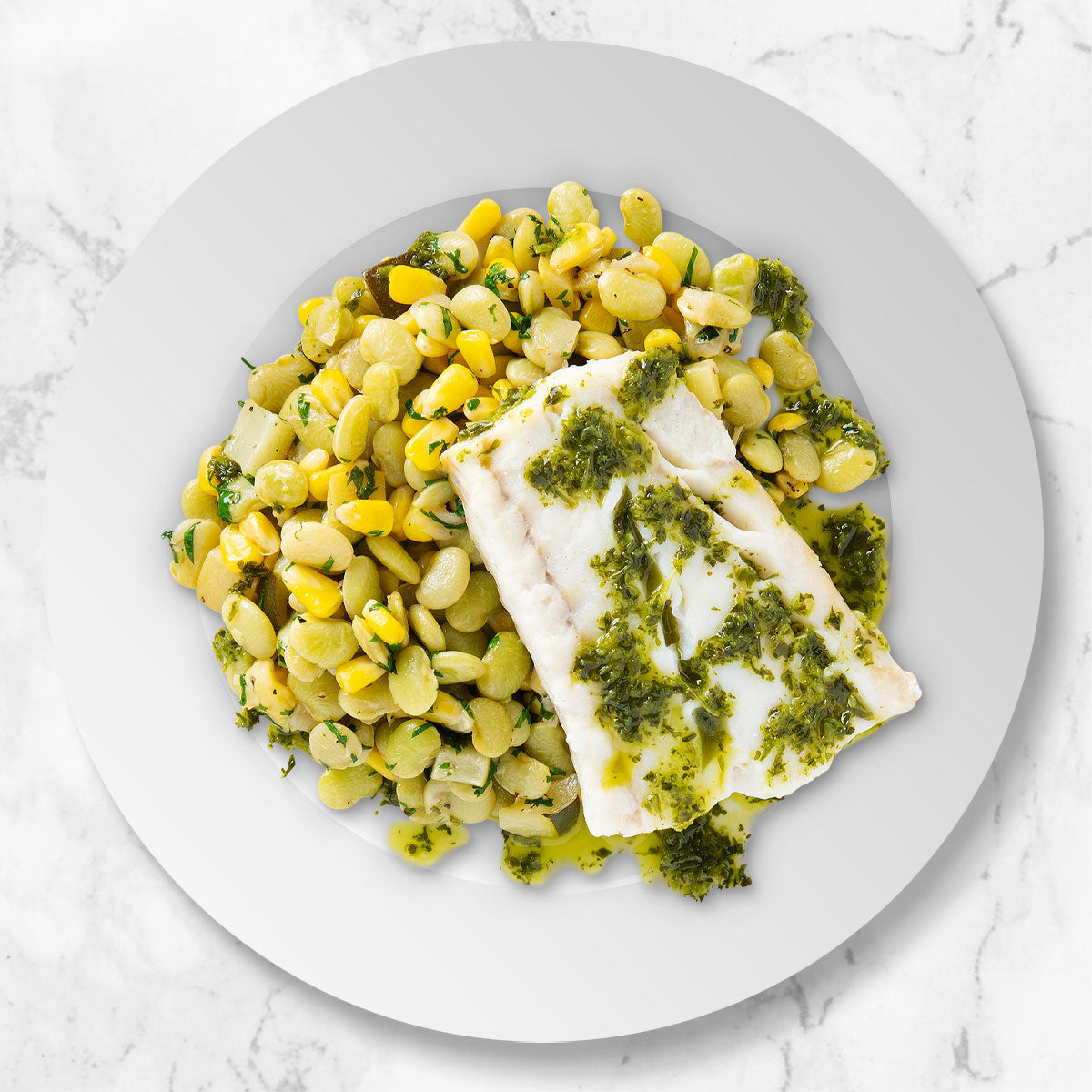 Roasted Cod with Succotash and Chermoula Sauce