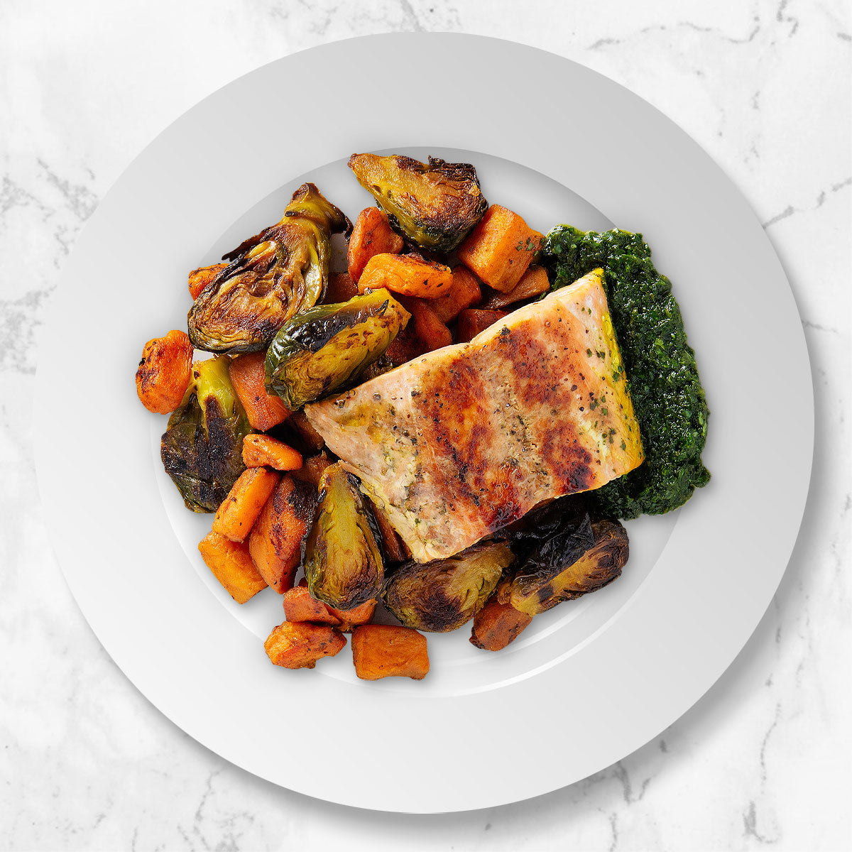 Roasted Salmon, Brussels Sprouts, and Sweet Potatoes with Spinach-Pecan Pesto