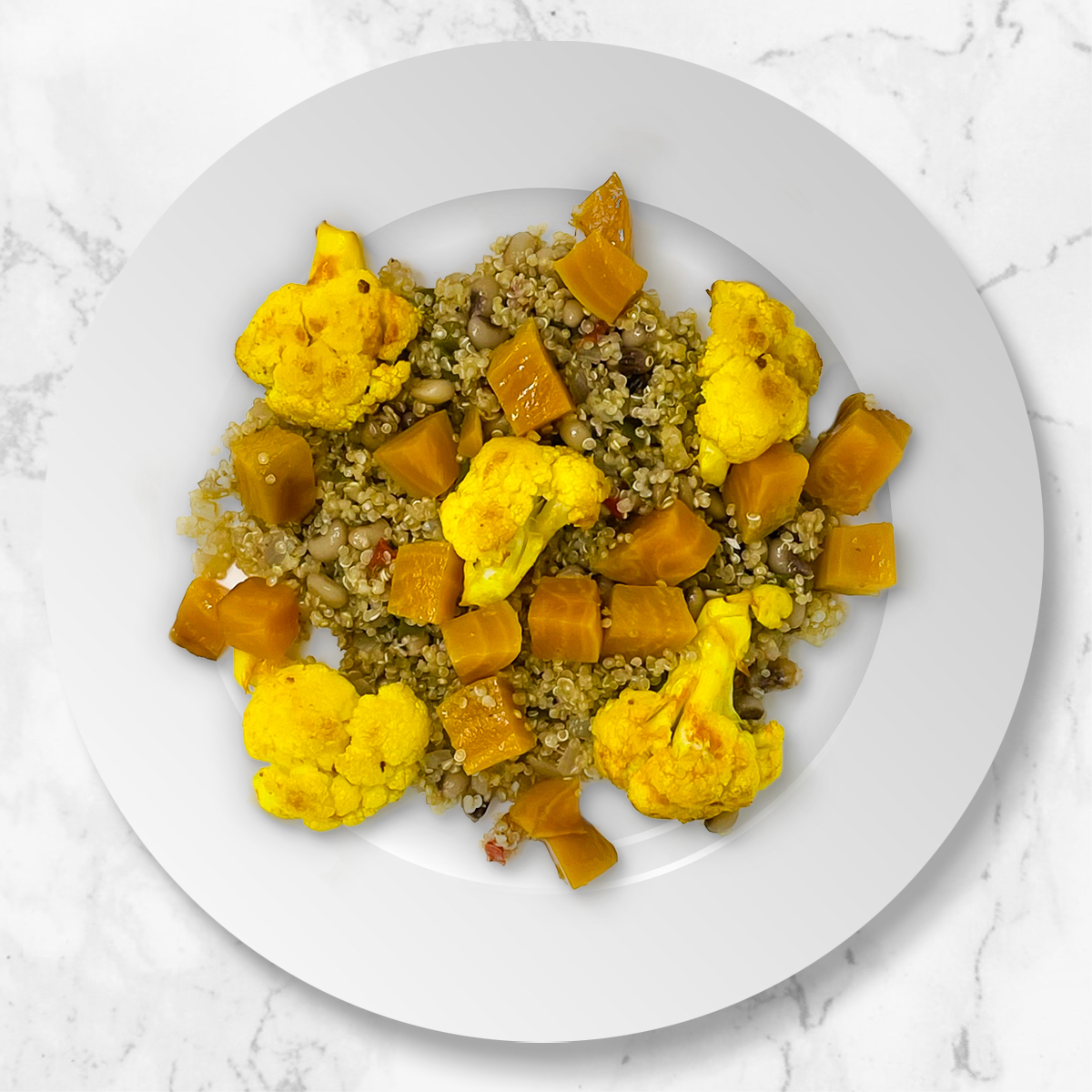 Quinoa Hoppin John, Spiced Cauliflower, Gold Beets