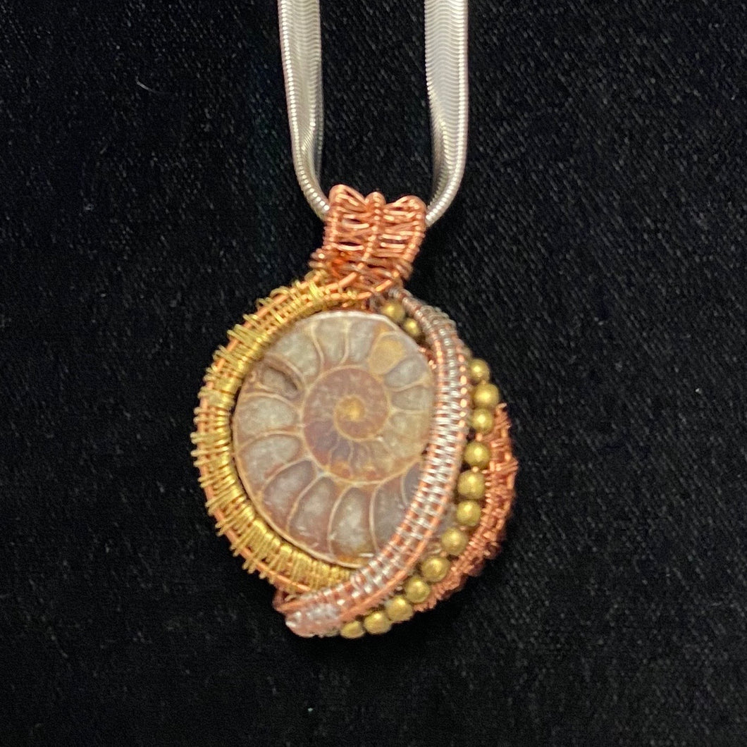 Ammonite with Silver and Copper Wire Pendant Necklace