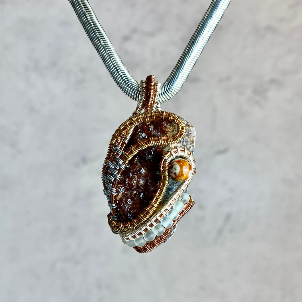 Natural Brown Crystalized Stone Pendant