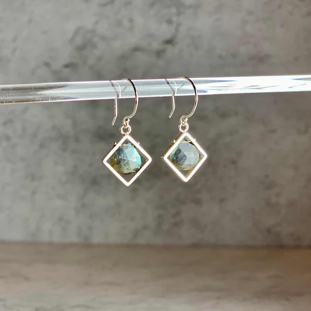 Diagonal Square Frame Earrings with Labradorite