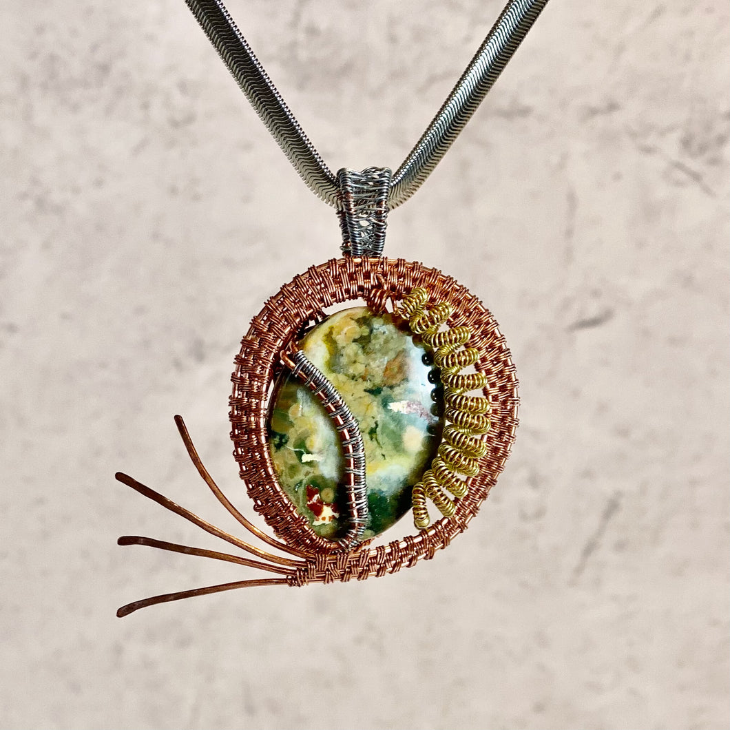 Natural Stone with Copper Wire on Sterling Silver Chain