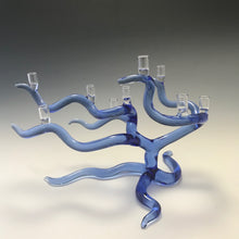 Load image into Gallery viewer, Windswept Tree Of Life Menorah in Cobalt Blue