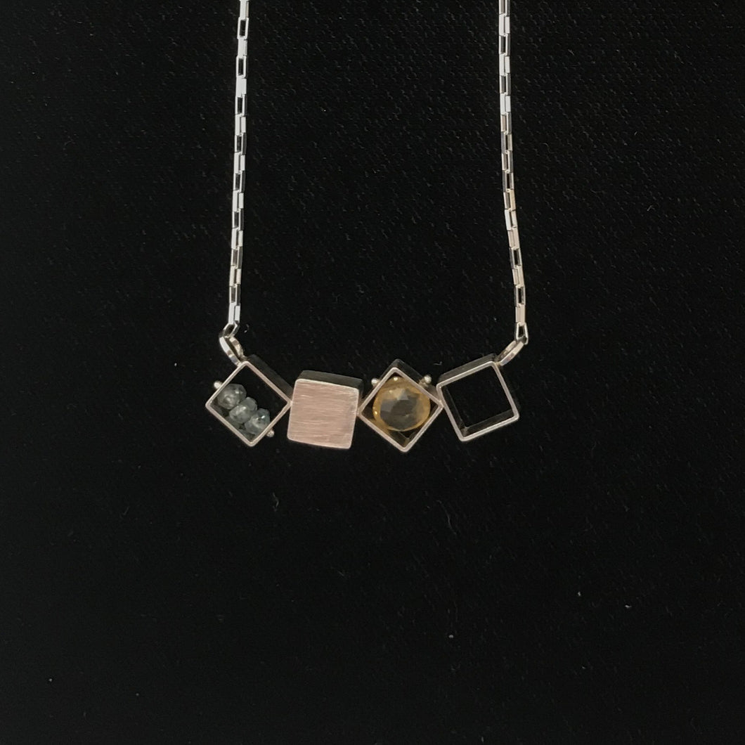 Four Small Squares Necklace