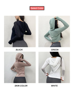 Hooded Long Sleeve Sports Top
