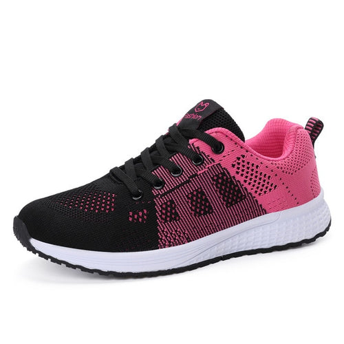 Breathable Walking Mesh Lace Up Flat Sneakers