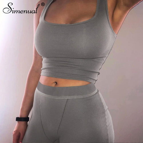 Casual Sporty Ribbed Workout Matching Sets