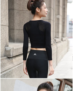 Crop Top Round Collar Long Sleeve Sports Shirt