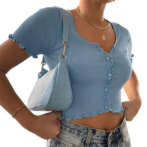 Sexy Women V-neck Short Sleeve Ruffle T-shirt