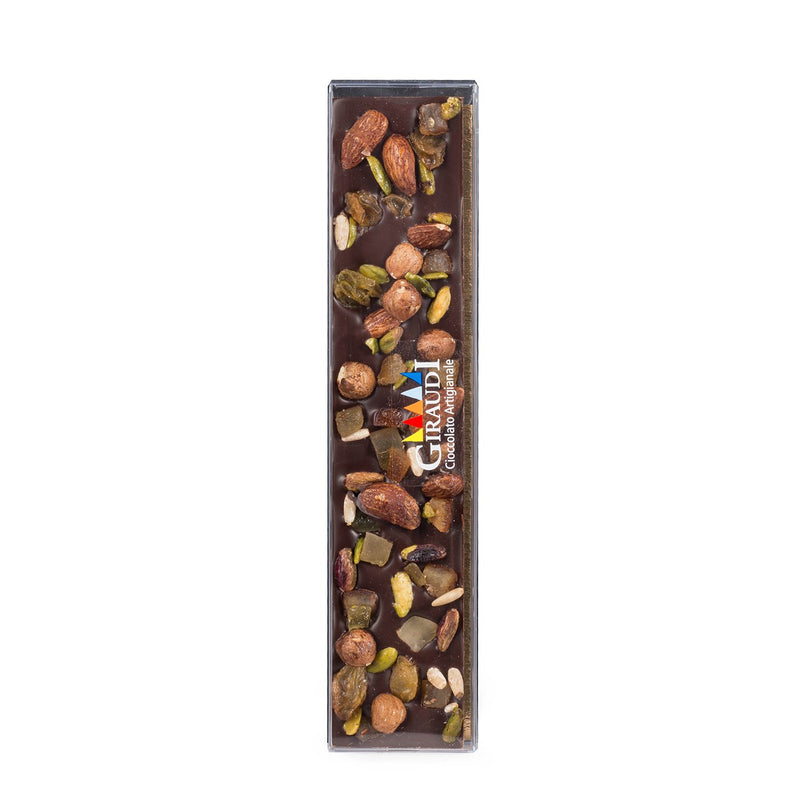 Dark Chocolate Bar Covered With Fruit