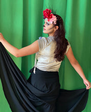 Load image into Gallery viewer, Black wrap skirt with one flounce layer