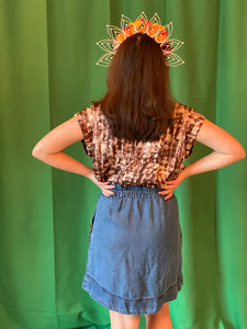 Denim skirt with chains