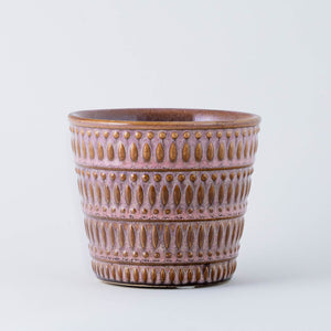 Pink and Tan Glazed Pot