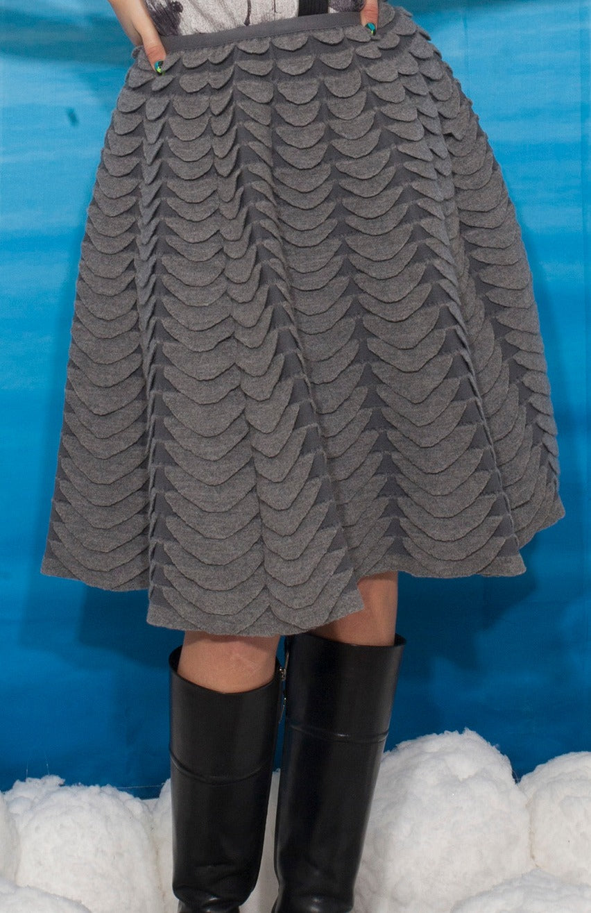 Alaïa 90s-2000s wool skirt with scale-like relief