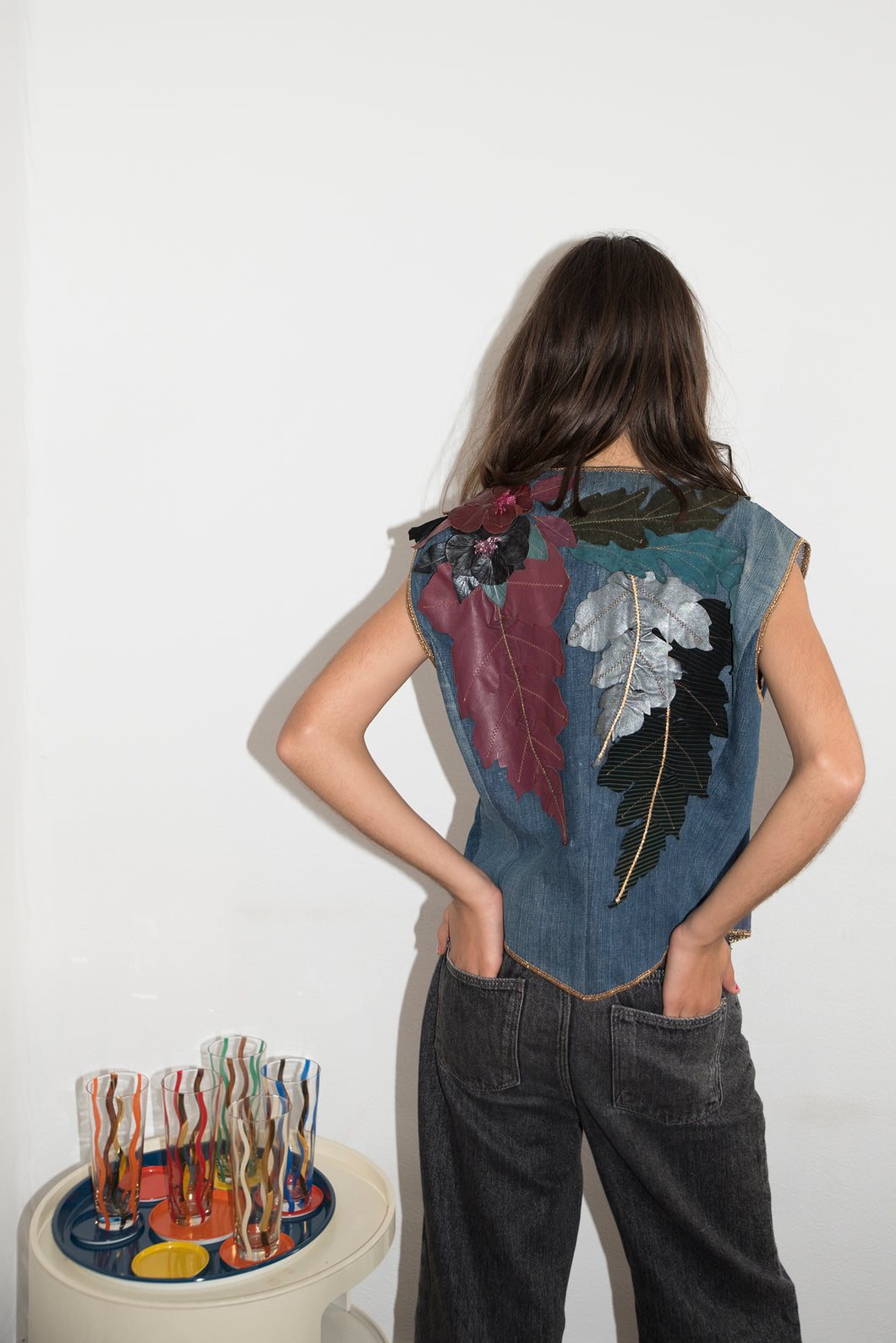 Roberto Cavalli 70's Patchwork Gillet In Navy Denim