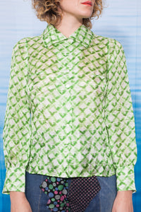 70's Courrèges ultra thin silk green shirt