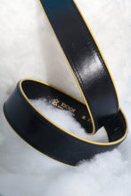 Load image into Gallery viewer, 80's Escada leather belt in navy with yellow finishings and golden buckle
