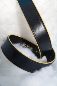 80's Escada leather belt in navy with yellow finishings and golden buckle