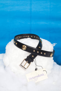 80's Escada leather belt in navy with golden dices detail