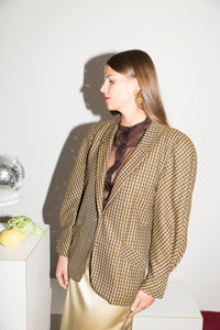 Versace 1980s Wool Jacket in Plaid Print