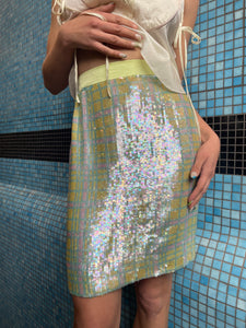 Escada 90s sequin and silk pastel miniskirt