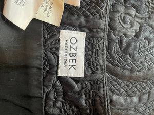 Ozbek 90's black two piece with embossed floral pattern.