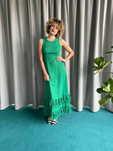 1960's green handmade maxi dress with fringes at the bottom