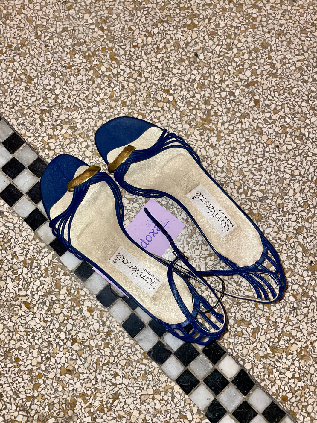 Gianni Versace 80s blue and gold sandals