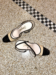 Chanel 90's beige and black pumps with Chanel logo