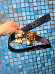 Kenzo high waist black leather belt with golden bow