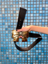 Load image into Gallery viewer, Kenzo high waist black leather belt with golden bow