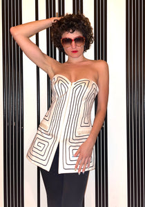 Angelo Tarlazzi  90s cream bustier with graphic pattern
