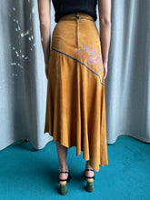Load image into Gallery viewer, Roberto Cavalli 1970's Leather Skirt with Floral Details