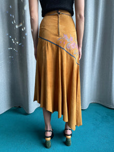Roberto Cavalli 1970's Leather Skirt with Floral Details