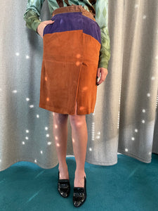 Gianfranco Ferre 80's suede pencil skirt with front slit